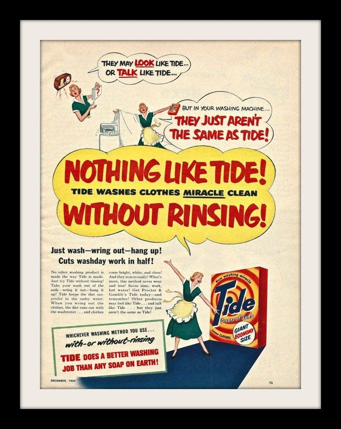 """1950 Tide Laundry Detergent Ad """"Miracle"""""""