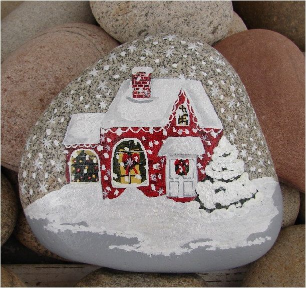 Christmas House hand-painted river rock Christmas gift by RocksOK