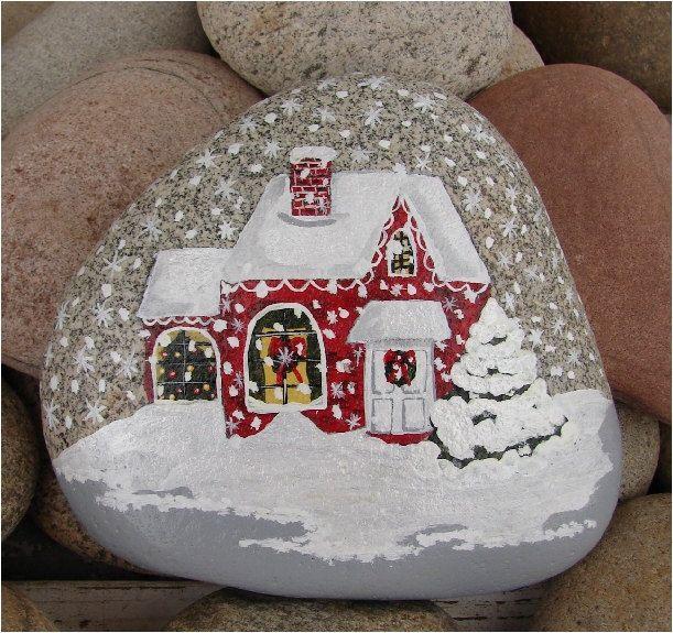 Christmas+House+handpainted+river+rock+Christmas+gift+por+RocksOK,+$25,00