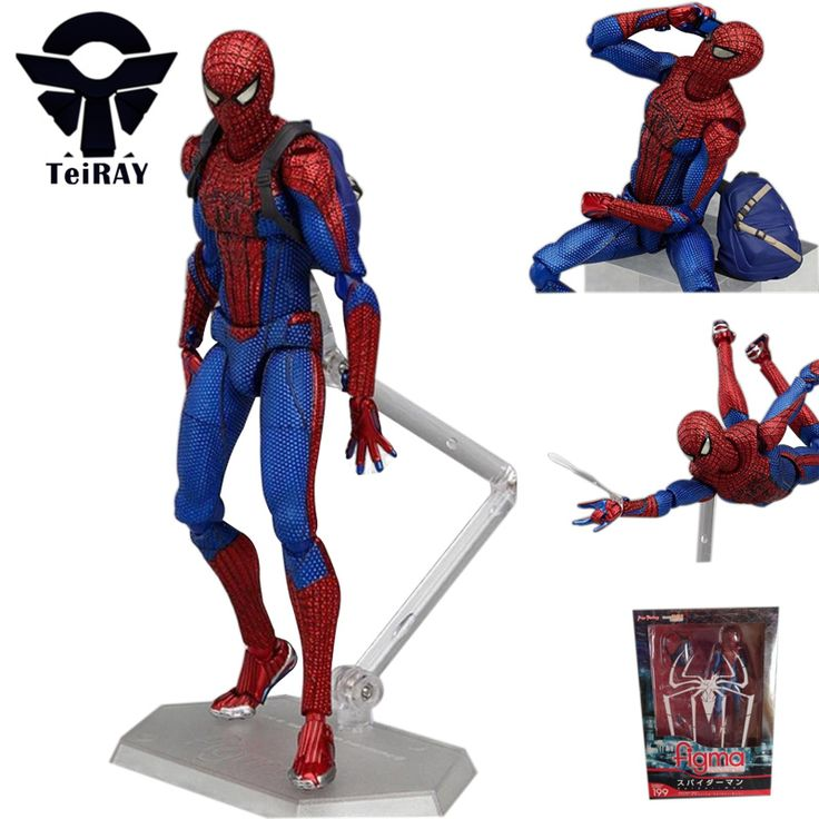Anime Marvel figma 199 Spiderman figures the amazing spiderman mini pvc action figure toys doll juguetes free shipping 16cm