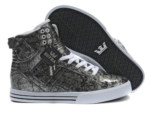 Mens Supra Skytop Shoes Silver Black