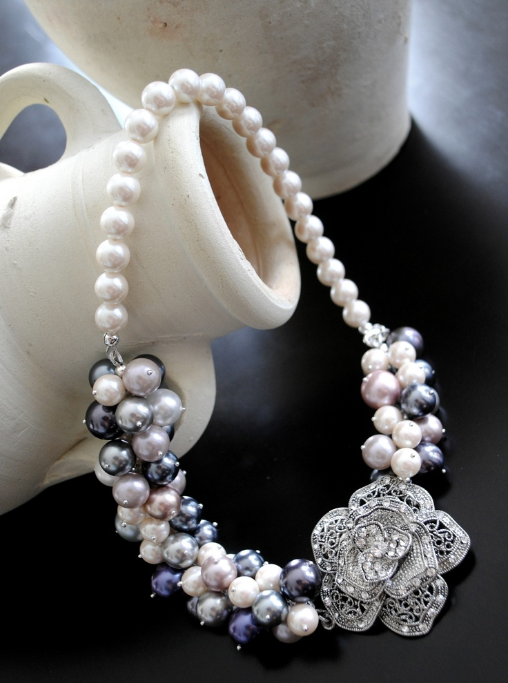 Beautiful Swarovski Multi-coloured pearl necklace