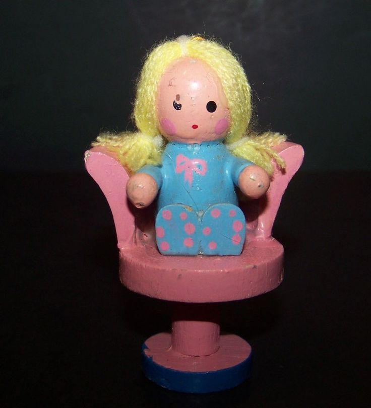 Vintage Wood Christmas Ornament Little Girl in Pink Chair Blonde Hair Wooden #Unbranded
