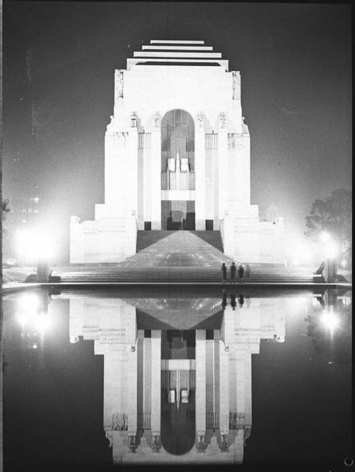 ANZAC War Memorial, Sydney, Australia from the State Library of New South Wales Stunning 1937 portrait of the memorial in Hyde Park, with reflection.