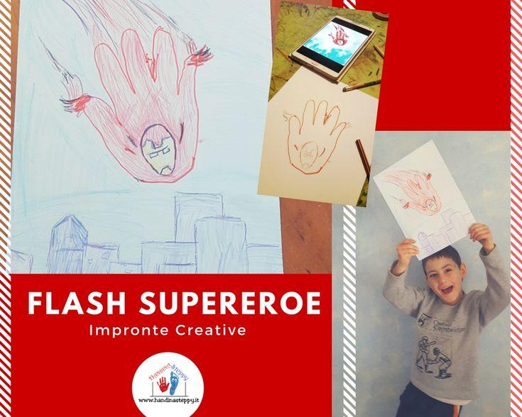 Flash supereroe fatto con impronta