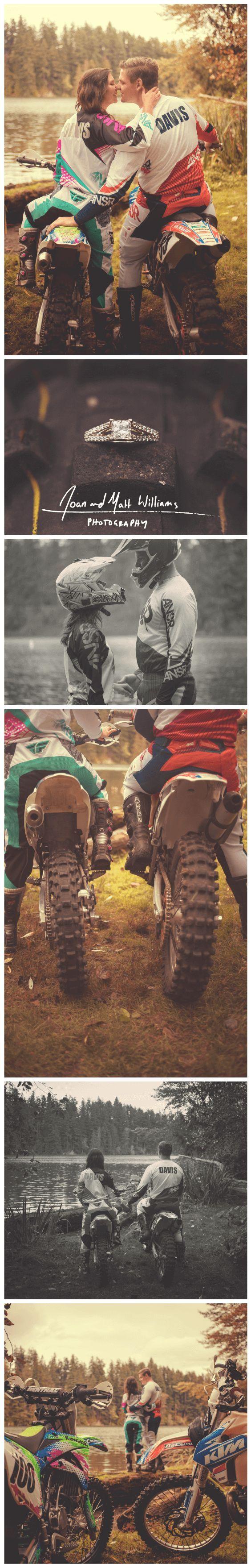 Motocross Autumn Engagement Photos with Dirt Bikes