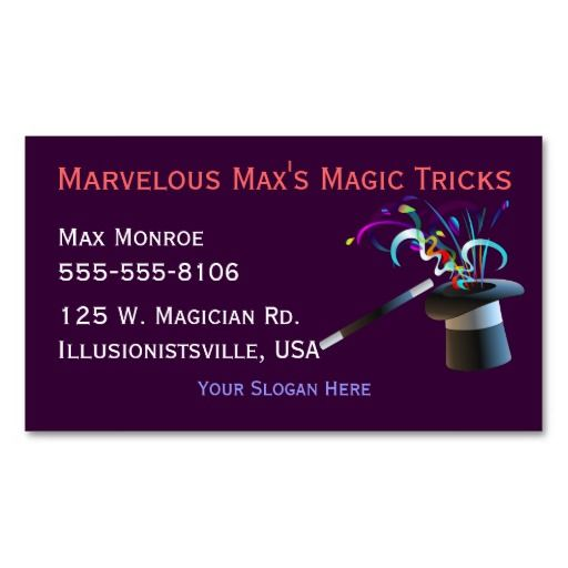 The 215 best magician business cards images on pinterest business magical top hat business cards colourmoves