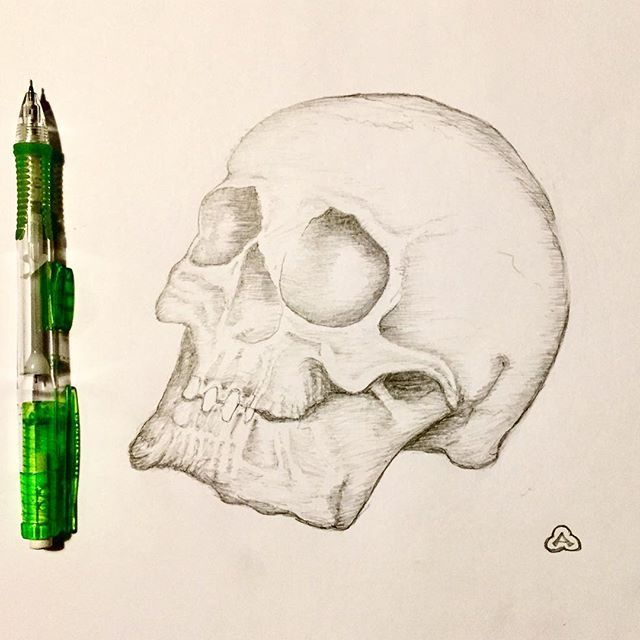 Totenkopf, literally dead's head, is the German word for death's head symbols. The Totenkopf symbol is an old international symbol for death, the defiance of death, danger, or the dead, as well as piracy. A welcome return to pencil after being freaked out