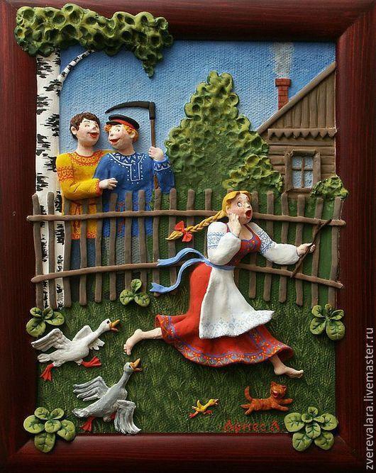 """Этно ручной работы. Ярмарка Мастеров - ручная работа. Купить Русский стиль. Декоративное панно, керамика, лепнина на холсте  """"Гуси"""". Handmade."""
