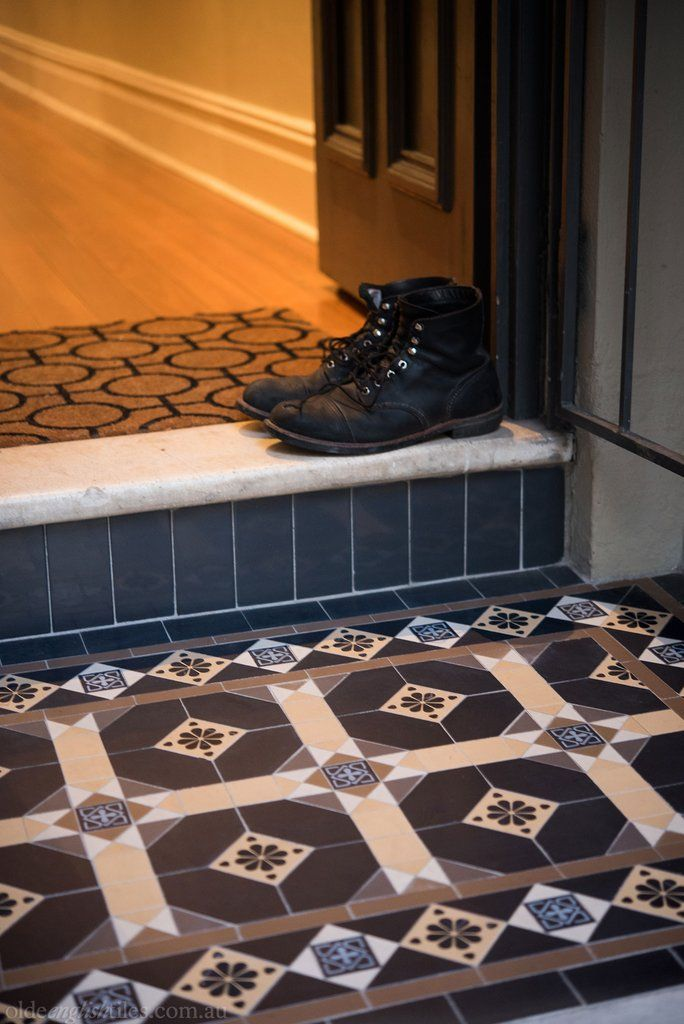 Olde English Tiles – Manchester pattern with the Enmore border. Gorgeous Verandah Heritage Tessellated Tiles