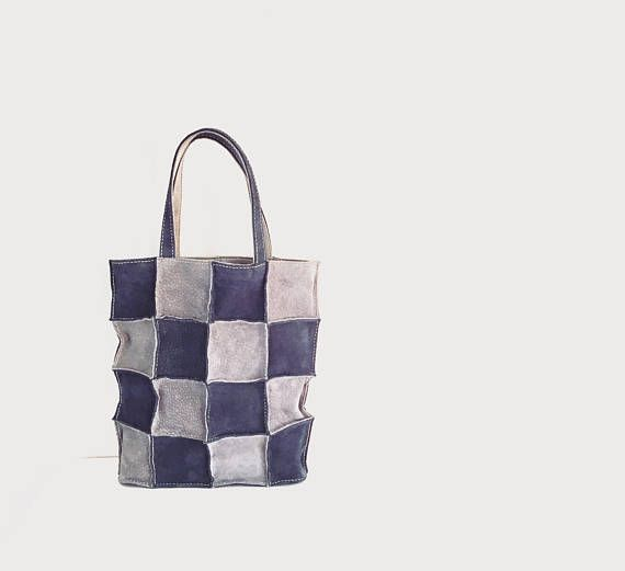 Leather Patchwork Tote Bag Tote Bag Suede Leather #suedebag #suedetote #leatherbag #leathertote