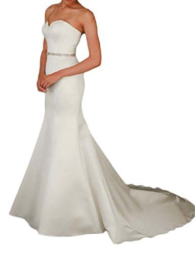 OYISHA Women's Satin Mermaid Wedding Bridal Dress with Sweep Train Beaded Ivory Customization   #FreedomOfArt  Join us, SUBMIT your Arts and start your Arts Store   https://playthemove.com/SignUp