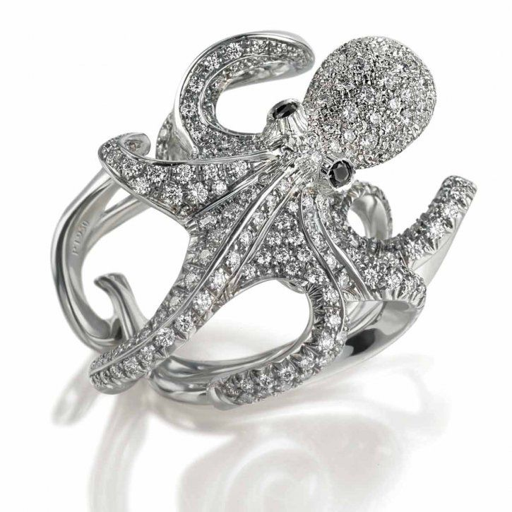 Octopus ring in white gold and diamonds by Scavi