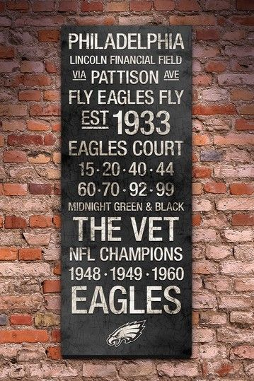 "Philadelphia Eagles Vintage Subway Art - 40"" x 16"" by Fan Favorite Football Art"