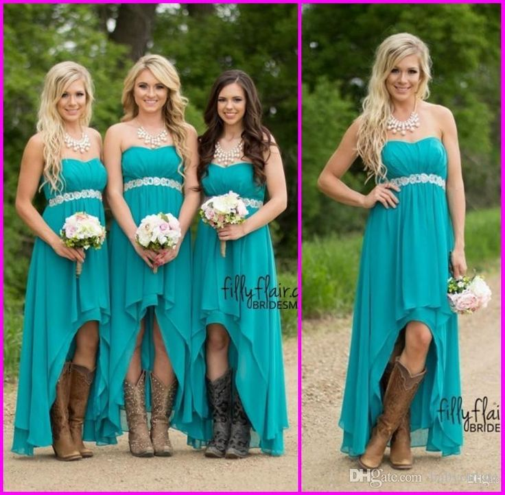 2016 Very Fashion Country Teal Hi-lo Short Bridesmaids Dresses A Line Backless Sexy Beach Prom Gown Strapless Plus Size Bridesmaid Dress Online with $92.68/Piece on Babyonline's Store | DHgate.com