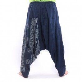 Aladdin Pants with Om / Floral Design Print – Blue
