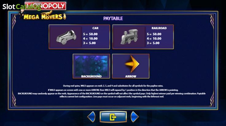 Paytable 2. Monopoly Mega Movers (Video Slot from SG)