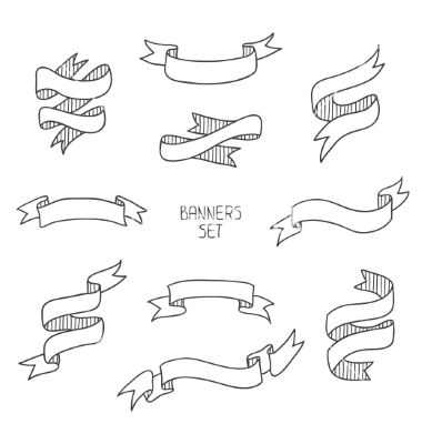 Vintage ribbon banners hand drawn set for design vector by Krolja on VectorStock®