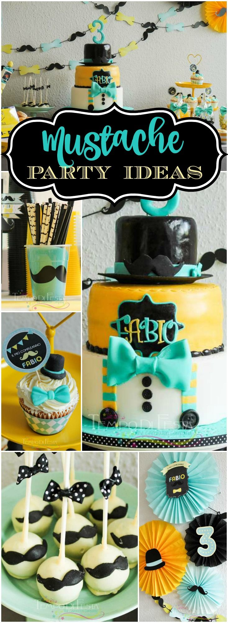 Check Out This Mustache Little Man Party In A Great Color Combo See More