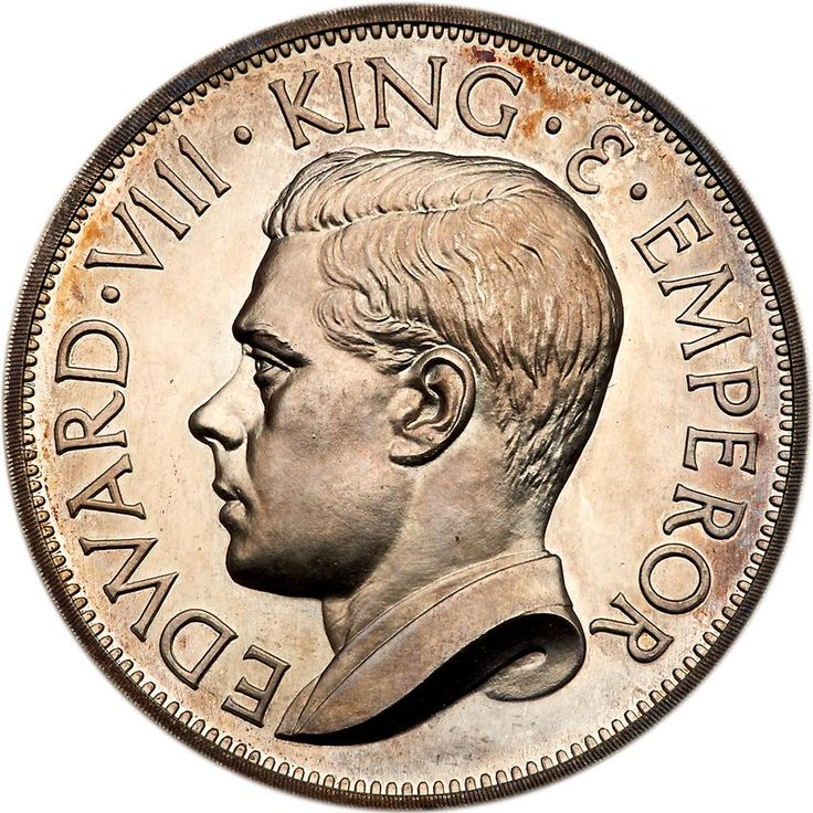 Great Britain. Original Pattern Crown, 1936 PCGS PF66 CAM Struck by John Pinches for Geoffrey Hearn circa 1956, in .925 Proof silver, possibly on the 20th anniversary of the abdication of the king. Obverse, Hearn's portrait of King left. EDWARD VIII KING & EMPEROR. Reverse, type I version of St George on reared horse, slaying dragon, by G. Holman. Edge plain. Choice uncirculated Proof finish with a light golden tone. By far the rarer of the 2 reverse types. Possibly only 20 specimens were…