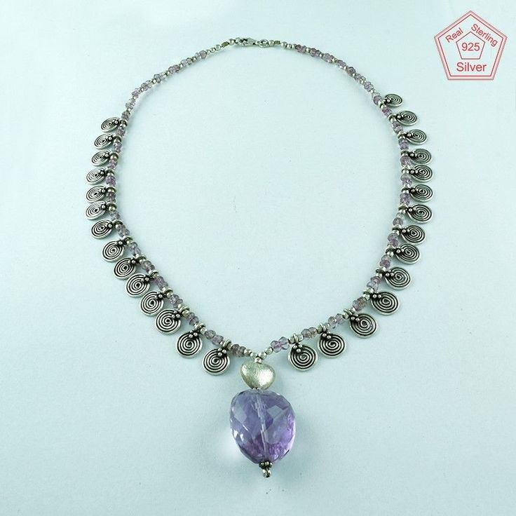 CLASSY DESIGN 925 STERLING SILVER NECKLACE IN AMETHYST STONE FOR WOMEN'S…