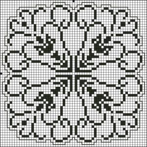Square 26 | Free chart for cross-stitch, filet crochet | Chart for pattern - Gráfico