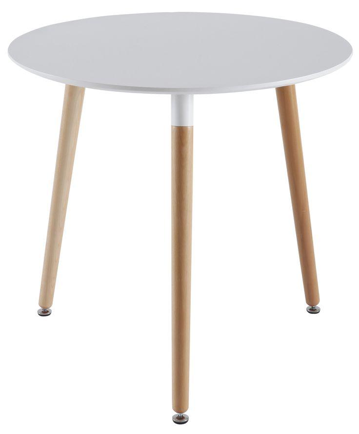 Table ronde design « Scandinave » coloris blanc et bois