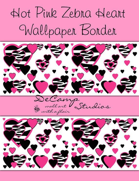 Zebra animal print hearts wallpaper border wall decals for teen girls