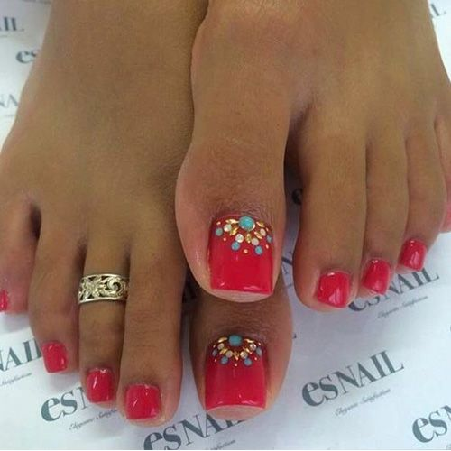 Red Toes Nail Polish with Toe Ring