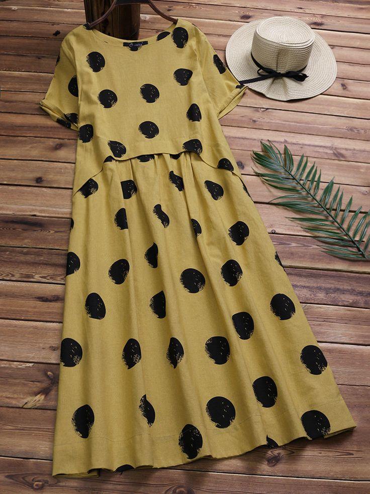 Casual Polka Dot Short Sleeve Cotton Dresses for Women