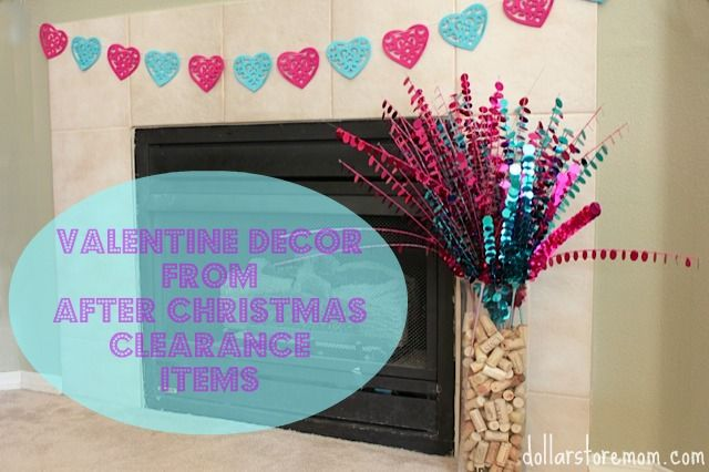 valentine decor made from after-Christmas clearance stuff
