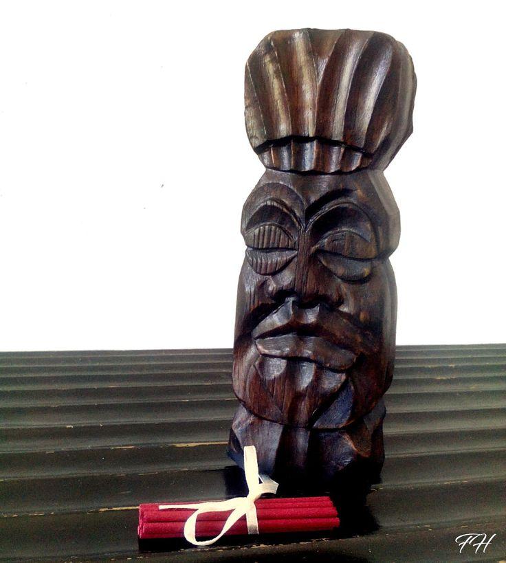 Statuette en bois massif - Totem - Objet de décoration pour encens - Fait main - : Accessoires de maison par figurinesheros
