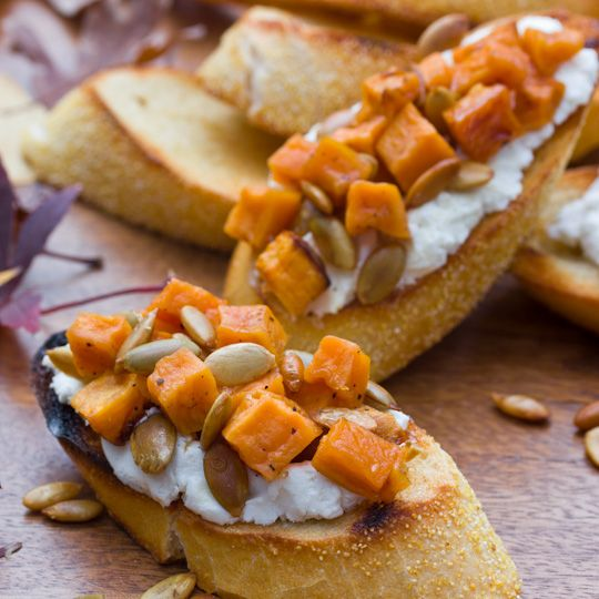 Sweet Potato & Goat Cheese Bruschetta - wonderful autumn dinner party starter.