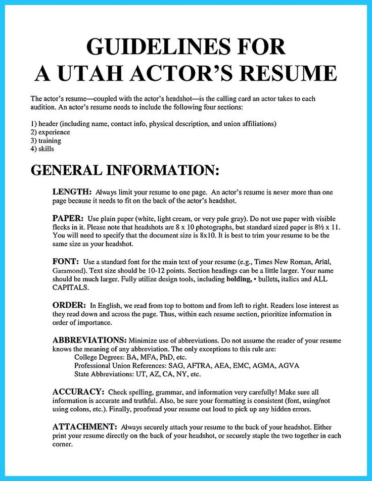 cool learning to write an audition resume resume template