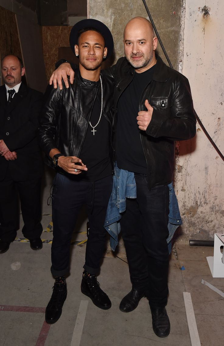 Matteo Sinigaglia of Replay & Neymar jr posing for the photographers.