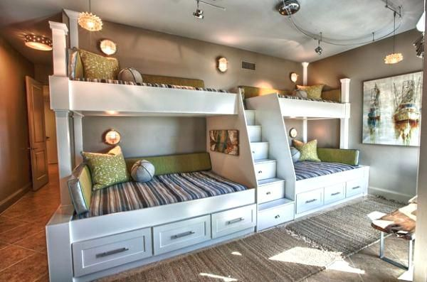 4 Beds In One Room View In Gallery Utilize The Unique Design Of The Room With Custom Bunk Beds Bunk Bed Designs Bunk Beds Built In Bed Design