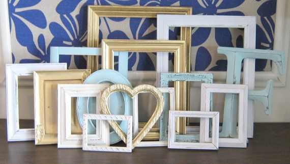 Mint, Antique Gold, and Cream Picture Frame Set/ Gallery Wall Set/  Letter Monogram/ Distressed Semi Gloss Matte