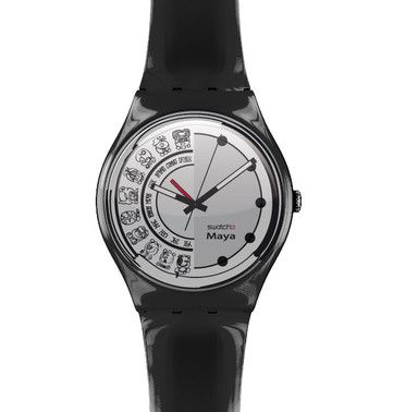 """Nel 2008 durante il mio percorso scolastico, ho progetto una linea artistica di Swatch. Swatch Maya, ipotizzata per essere indossata il giorno della profezia. L'orologio sarebbe stato dotato di un meccanismo con una lancetta """"rossa"""" per segnare il Countdown.  Una lotta estrema contro il tempo..."""