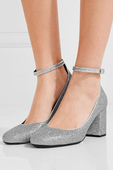 Heel measures approximately 70mm/ 3 inches  Silver glittered leather  Buckle-fastening ankle strap Designer color: Moon Made in Italy