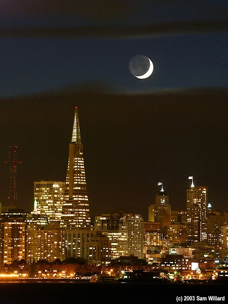 Crescent Moon Over San Francisco II by samCityscapes, San Francisco California, Cities Sitting, Sanfrancisco, Beautiful, San Francisco Nice Kss, San Francisco Nic Kss, California Mi, Crescents Moon