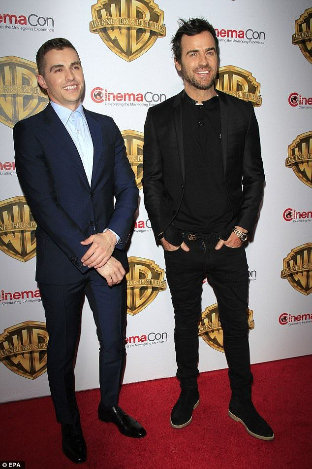 Red carpet buddies: Dave Franco, left, and Justin Theroux, who both voice characters in The Lego Ninjago Movie, promoted it at CinemaCon in Las Vegas on Wednesday, where Justin admitted he has trouble finding gifts for wife Jennifer Aniston
