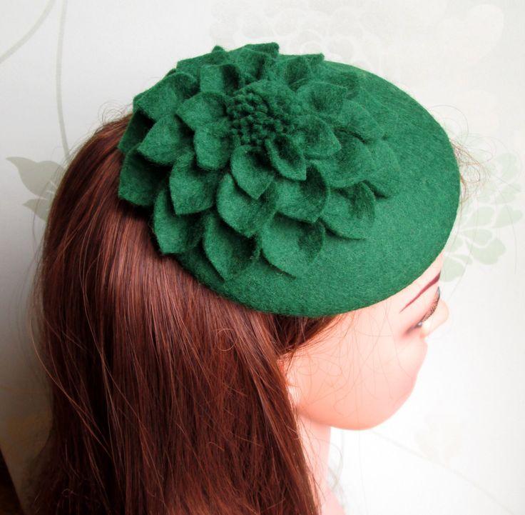SALE Green Hat - Green Fascinator, Green Cocktail Hat, Felt Fascinator, Wedding Hat, Formal Hat by LillibetsMillinery on Etsy https://www.etsy.com/listing/188274238/sale-green-hat-green-fascinator-green