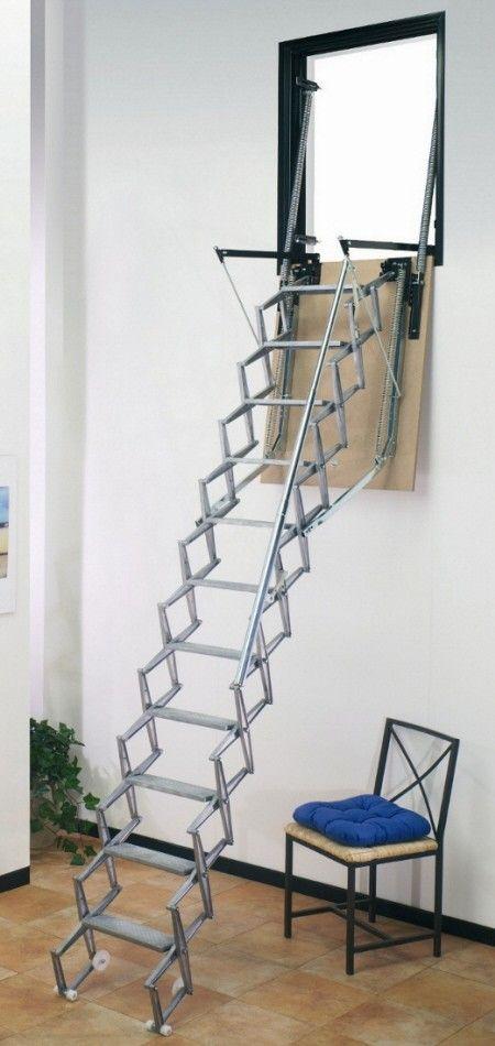 Superb Dimes SAF/P Vertical Wall Access Aluminium Concertina Loft Ladder    The  Die Cast