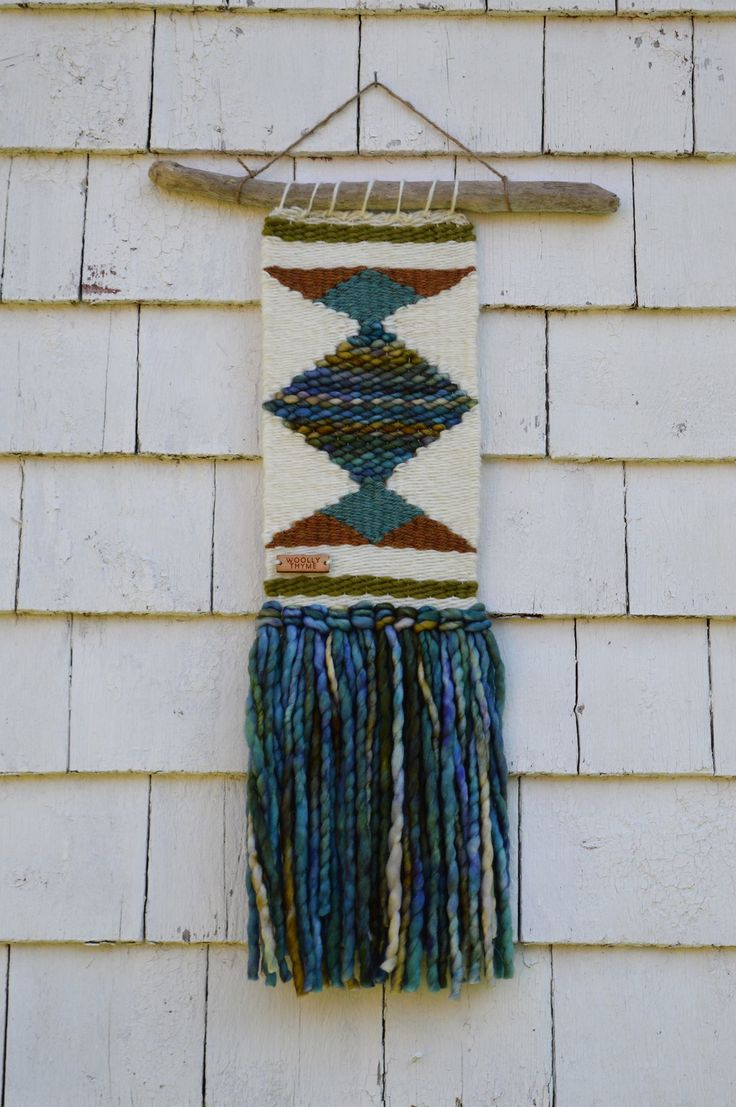 Handwoven wall hanging from Woolly Thyme Weavings in Lunenburg, Nova Scotia. $120.00