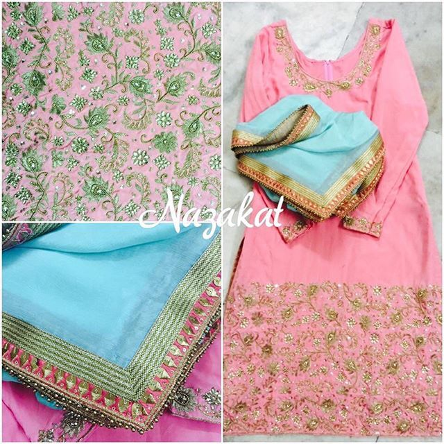 So finally we reveal this beauty to you all!  This piece is done for a client in the US! Its a long straight shirt with intricate zardozi and tilla detailing teamed up with  a chooridar! The highlight of this piece is the contrast dupatta that we absolutely love  #nazakatboutique #nazakat #aqua #blue #green #mint #pink #peach