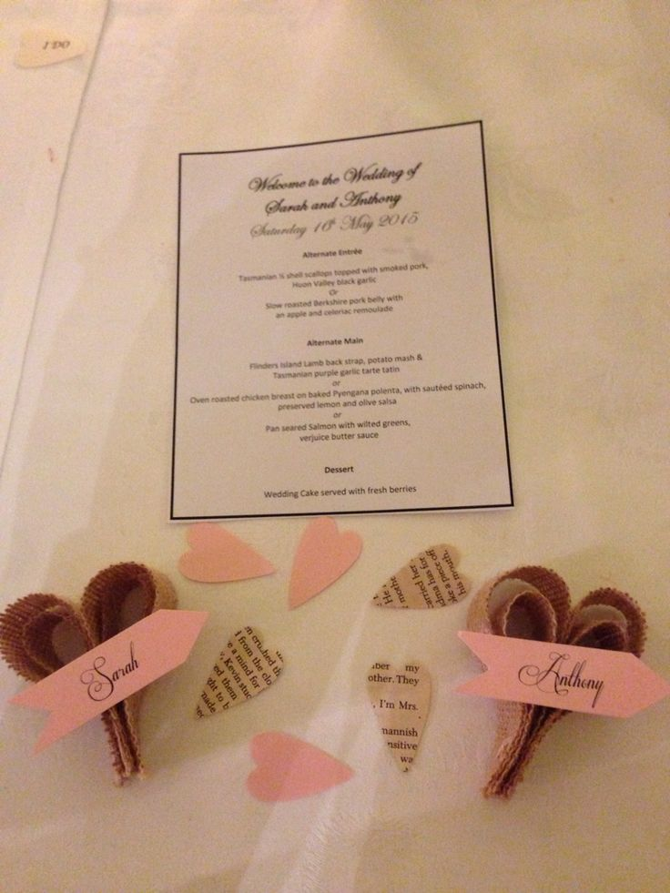 Our wedding place setting, menu and paper hearts