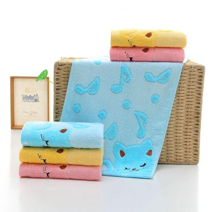 Bamboo Fiber Music Cat Baby Wash Towels Spa Facial Bath Towel Washcloths New #BambooChina #Anime
