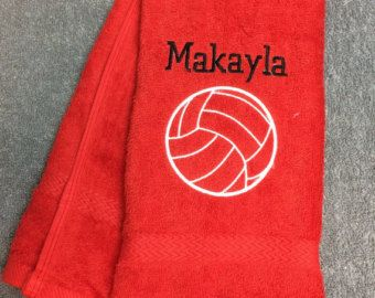 Personalized volleyball towel fast by LindaKaysCreations on Etsy