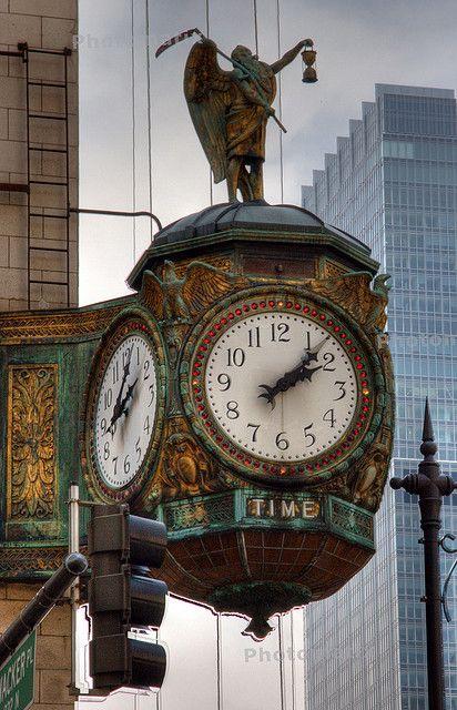 Beautiful old clock on Jeweler's building, Wacker St, Chicago