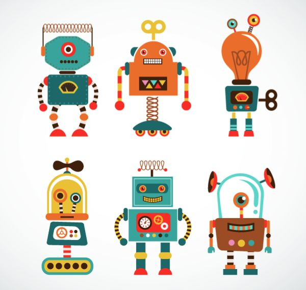 vintage robots on Behance